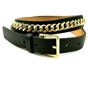 Michael Kors Leather and Gold Chain Belt M NWT